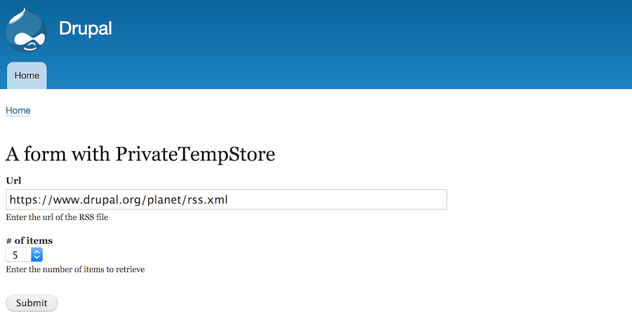 Saving temporarily values of a form with Private Tempstore